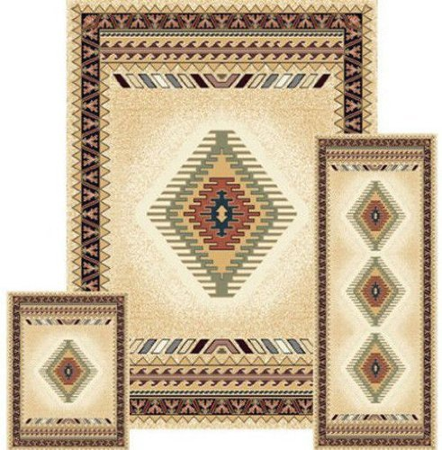 Southwestern Contemporary Geometric Area Rug Cream 3 Pieces Set (5x8) (2x6) (2x3) 27097 - Tucson Cream