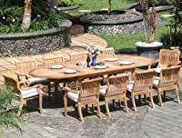 11 Pc Luxurious Grade-A Teak Dining Set - Large 117