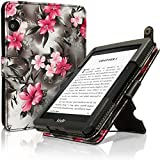 IGadgitz Vintage Collection Floral PU Leather Case Cover for Amazon Kindle Voyage 7th Generation - Pink/Black