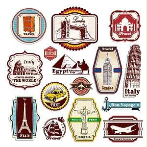 suitcase stickers regular multi color amazon co uk kitchen amp home