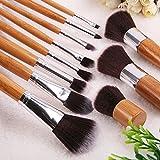 Lychee 11 Pinceaux de Maquillage Pro Kit de Pinceaux Cosmétique à Poudre / Fond de teint avec pochette