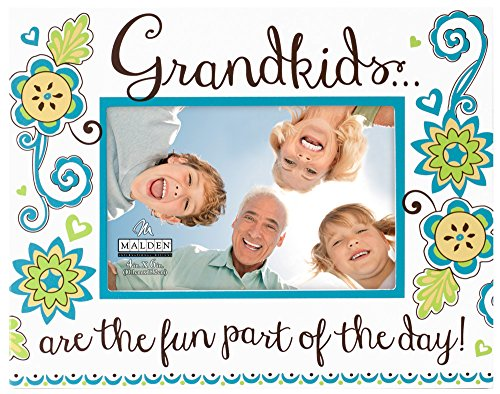 "Malden International Designs Positive Thoughts Wood Picture Frame Silkscreened ""Grandkids are the Fun Part of the Day"" to Hold 4 by 6-Inch Photo, White"