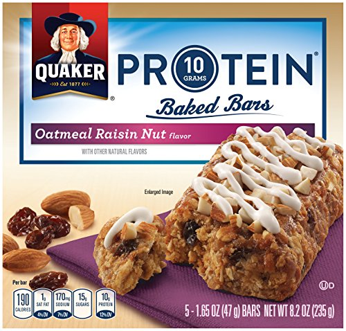 Quaker Protein Baked Bars, Oatmeal Raisin, Breakfast Bars, 1.65oz - 5 count (Pack of 8 ) (Oatmeal Protein Bars compare prices)