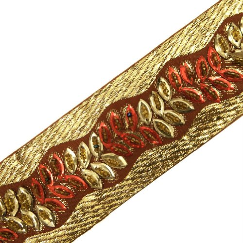 Rust Orange Light Gold Hand Beaded Trim Sewing Border Lace Craft India 3 Yd