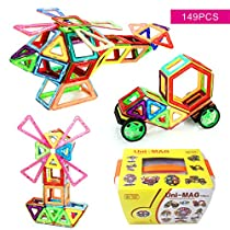 Uni-MAG Magnetic Building Blocks, 149 Pieces Set Kids Magnet Construction Toy for Kids, Educational Magnetic Building Tiles, 2D & 3D Building Tiles Construction Playboards, Educational Stacking Toys
