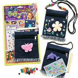 Denim shoulder bag kits for children to decorate and for Bag decoration games