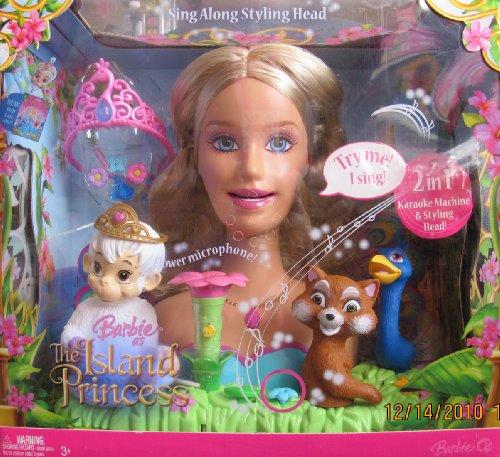 Barbie Island Princess 2 In 1 Styling Head & Karaoke Machine W Flower Microphone & More (2007)