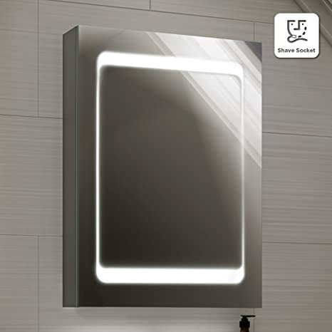 498 x 700 mm Modern Illuminated LED Bathroom Mirror Cabinet with Shaver Socket