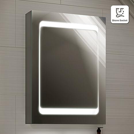498 x 700 mm Modern Illuminated LED Bathroom Mirror Cabinet with Shaver Socket