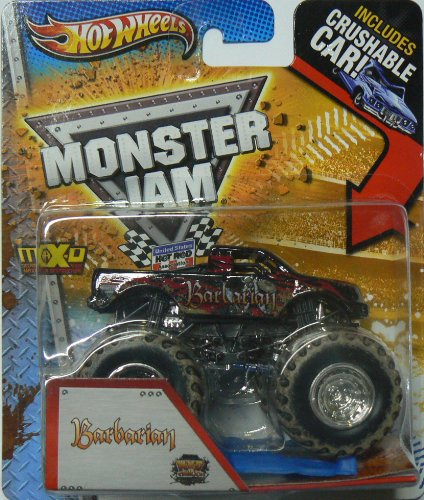 Hot Wheels Monster Jam Mud Trucks Barbarian with Crushable Car - 1
