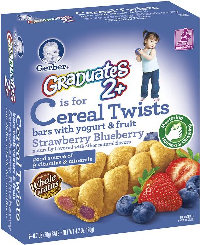 Gerber Graduates Cereal Twists (Fruit,Yogurt, Strawberry and Blueberry) 4.2-Ounce (Pack of 6)