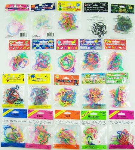 240 Shaped Rubber Bandz - (12 Bands Per Pack - 20 Different Packs Total) Mega Lot of Bandz - Musical, Garden, Farm, Dress, & Sea Bandz