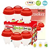 Egg Cooker-Silicone Egg Poachers for hard boiled eggs,Egg Cups AS SEEN ON TV,Hard&Soft Maker,Boil Eggs Without the Egg Shell (Pack of 6) (Color: Red/White, Tamaño: 6PK Egg Cooker)
