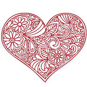 Amazoncom Valentines Day Filigree Floral Doodle Heart