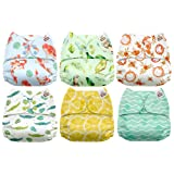 Mama Koala One Size Baby Washable Reusable Pocket Cloth Diapers, 6 Pack with 6 One Size Microfiber Inserts (Nature Calls) (Color: Nature Calls, Tamaño: One Size)