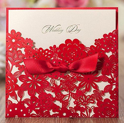 Krismile® 12 Red Elegant Handmade Laser Cut Chinese Wedding Invitation Card Printable