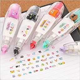 MiiSii(TM) 3pcs Cute Novelty Cartoon Animals Monster Owl Cat Correction Tapes White-Out Pens Gifts Prizes For School Kids Students + FREE GIFT