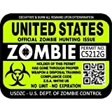 "ProSticker 1200 (One) 3""x 4"" Zombie Series ""United States"" Hunting License Permit Decal Sticker"