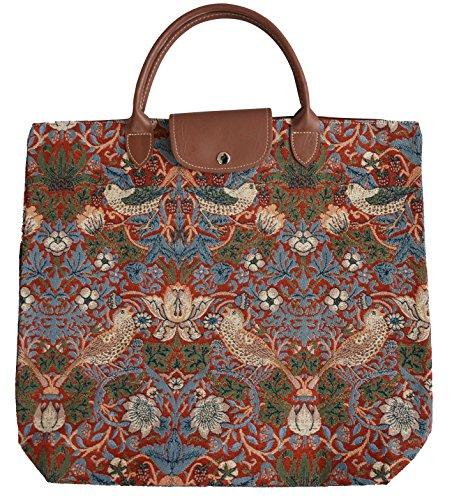 Borsa donna Signare in tessuto stile arazzo Pieghevoli Shopping alla moda Ladro di fragole rosse