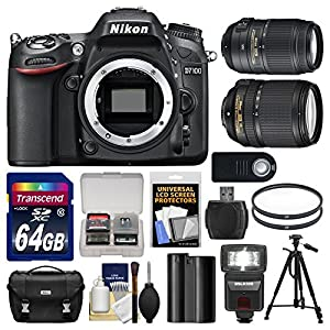 Nikon D7100 Digital SLR Camera Body with 64GB Card + Battery & Charger + Case + Flash + Tripod + Accessory Kit