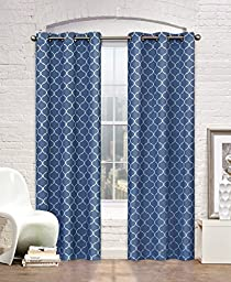Contemporary Moroccan Trellis Design Classy Top Grommet Two Panel Window Curtain Navy Ornament Pattern 104\