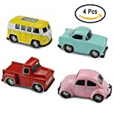 Jellydog Toy Pull Back Vehicles, 4 Pack Exquisite Metal Vehicles Set, Alloy Die-cast Mini Car Play Set, Pull Back Cars With Bus, Beetle,Pickup,Car ,Toy Car for Toddler (Color: Multicolored)