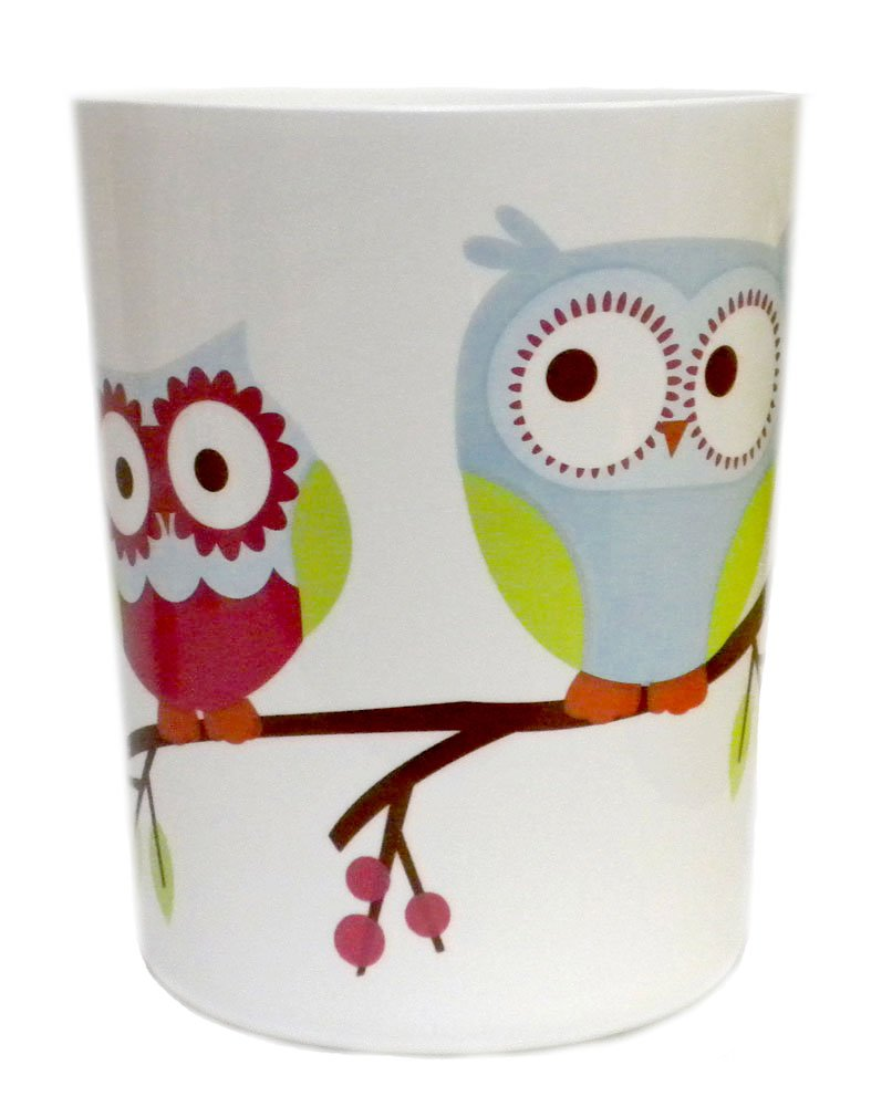 Colorful Hoot Owl Bath Waste Basket