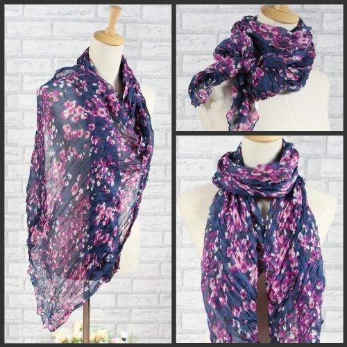 Beautiful Dark Blue & Pink Floral Crinkle Effect Soft Lightweight Shawl Scarf Sarong Wrap