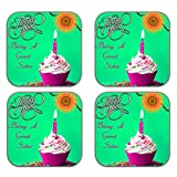 MeSleep Rakhi Wooden Coaster-Set Of 4 - B013LEG0KU