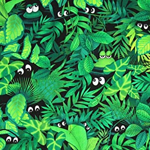 Timeless Treasures Peeking Frogs Green Fabric Yardage