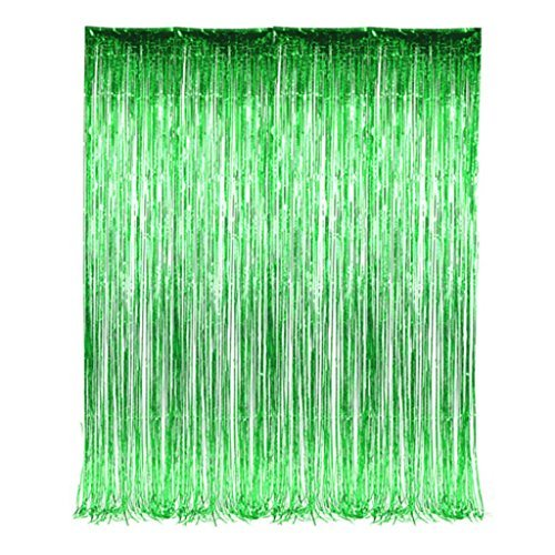 Green Foil Tinsel Fringe Curtain 3 feet x 8 feet (2 per order)