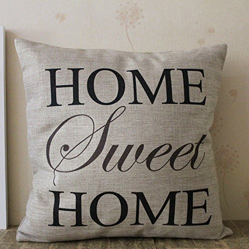 "LINKWELL 18""x18"" -Black Grey Home Sweet Home Simple Words Big Love- Burlap Cushion Covers Pillow Case"