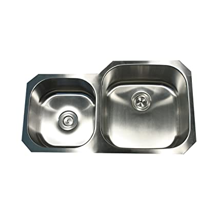 Nantucket Sinks NS3520-R-16 35-Inch  Double Bowl Undermount Stainless Steel Kitchen Sink