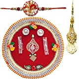 Handcrafted Steel Ganesha Design Pooja Thali Gift With Single Fancy Rakhi & Designer Lumba For Bhabhi - B073RJDBLF