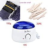 Perman Hair Removal Pearl Wax Set, 1 PCS Wax Warmer Machine + 20 PCS Wax Wiping Sticks + 100g / 3.5 oz Pearls Wax (Lavender smell)