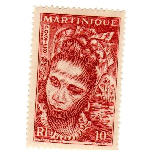Postage Stamps Martinique. One Single 10c Red Brown Martinique Girl