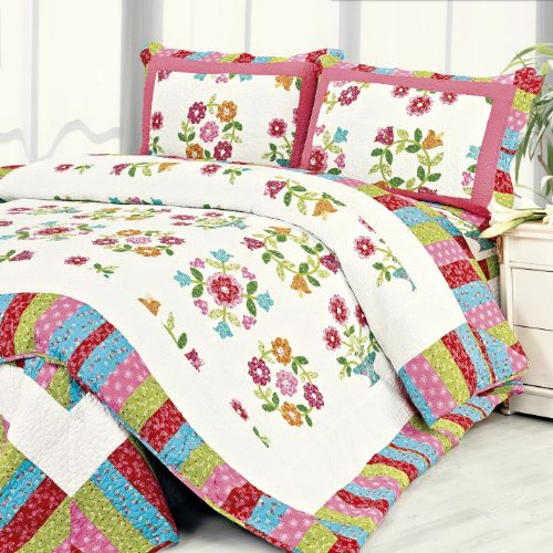 [Zinia] 100% Cotton 3PC Floral Vermicelli-Quilted Patchwork Quilt Set (Full/Queen Size)