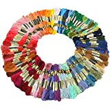 Tinksky 100 Skeins of 8M Multi-color Soft Cotton Cross Stitch Embroidery Threads Floss Sewing Threads (Random Color)