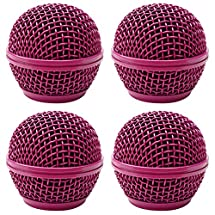 Seismic Audio - SA-M30Grille-Purple-4Pack - 4 Pack of Replacement Purple Steel Mesh Microphone Grill Heads - Compatible with SA-M30, Shure SM58, Shure SV100 and Similar
