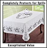 """Just released. The Next Generation of Vinyl Lace Tablecloth 54""""x72"""" (inches), White. Elegant, easy-to-care for, light gauge vinyl. Machine washable. Dryer safe when you follow instructions included - removes most wrinkles"""