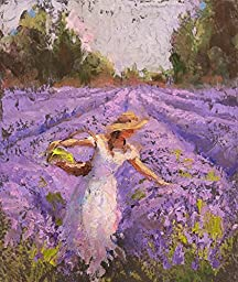 8x10 Lavender Field and Woman Landscape Art Print - Field of Purple Flowers Décor Artwork - Floral Painting by Karen Whitworth