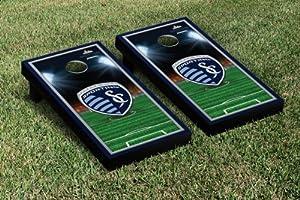 Sporting Kansas City SC Wizards Cornhole Game Set Soccer Field Version 1 by Gameday Cornhole