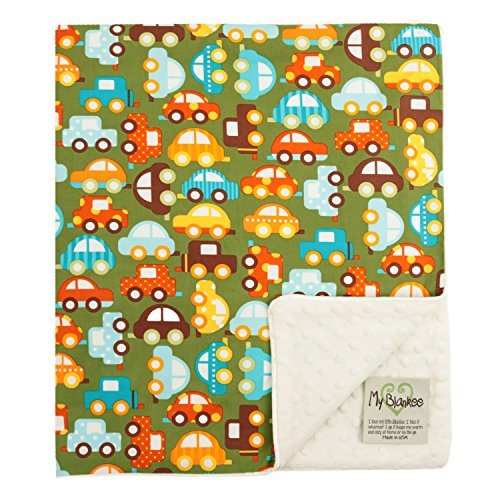 "My Blankee Cars Organic Cotton Lime w/ Minky Dot Cream Baby Blanket, 30"" X 35"""