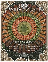 Wild Lotus Mandala Tapestry Green Twin Size