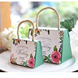 WPPOWER Wedding Gift Bags Bridesmaid Tote Bags Party Favors Gift Box Baby Shower or Birthday First Communion Christening Easter Decoration(Pack of 10) (Green, L) (Color: Green, Tamaño: L)