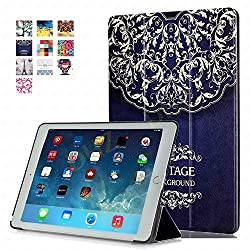 iPad Pro 9.7 Case - DHZ European Flower Vine Ultra Slim Lightweight Smart Shell Standing Cover with Auto Wake / Sleep Feature for Apple iPad Pro 9.7 inch Tablet(2016 Version)