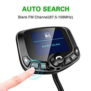 LoHi Bluetooth FM Transmitter for Car, Wireless Radio Adapter Hands-Free Kit 1.8''Color Display with Auto Search FM Blank Channel & QC3.0 Fast Charging Function, Support USB, TF Card, AUX Input/Output (Color: Black)
