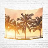 Interestprint-Tropical-Coconut-Palm-Tree-Beach-Sea-Ocean-Hawaii-Tapestry-Wall-Hanging-Wall-Decor-Art-for-Living-Room-Bedroom-Dorm-Cotton-Linen-Decoration-51-X-60-Inches