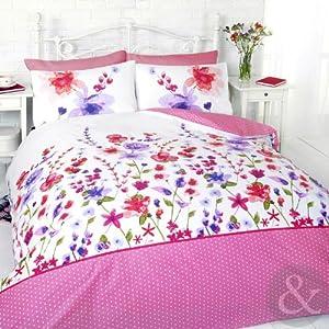 FLORAL DUVET COVER - Cotton Blend Printed Bedding Quilt Cover Bed Set Pink ( red white ) Single Duvet Cover ( girls kids childrens )