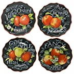 Stoneware Apple Salad Plates - Set of 4